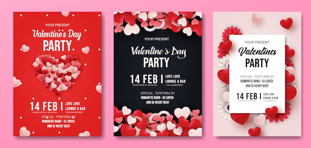 Set of valentine's day party flyer template