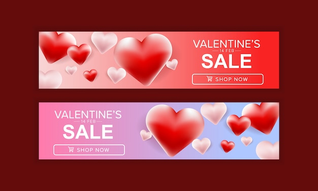 Set of valentine's day sale banner design