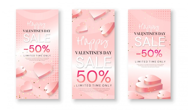 Set of valentine's day sale banners