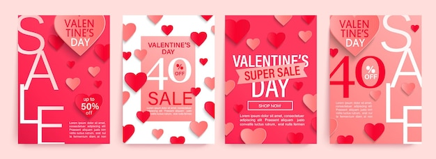 Set valentine's day sale offer illustration