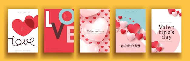 Set of valentine's day sale poster or banner backgroud.