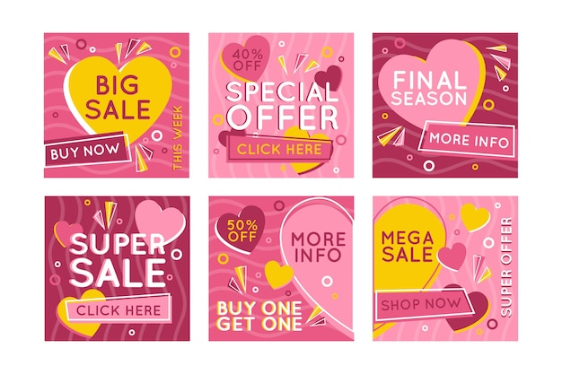 Set of of  valentine's day sale stories