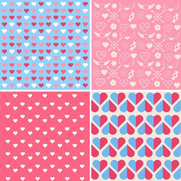 Set of valentine's day seamless patterns
