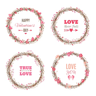 Set of valentine's day wreathes