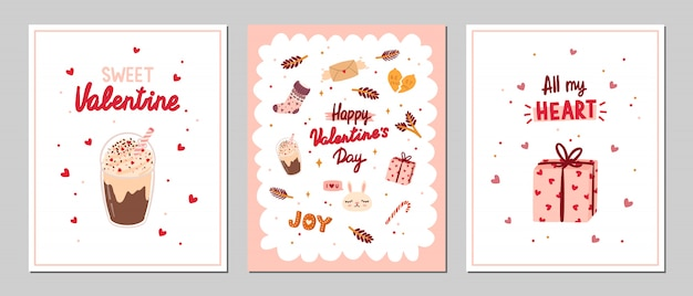 Set of valentine's greeting cards with romantic and beauty elements.