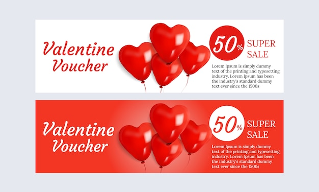 Set valentine's voucher design super sale promotion