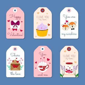Set of valentine tags