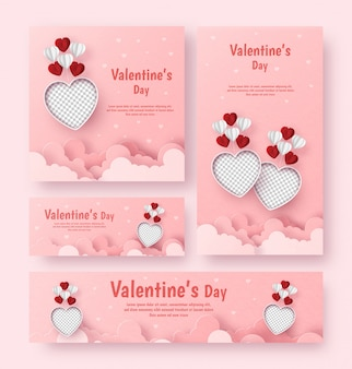 Set of valentines banner poster card invitation, blank photo with balloon and copyspace