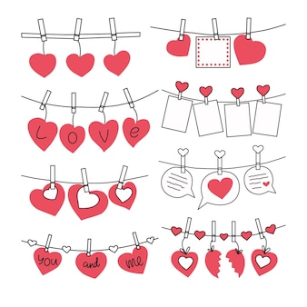 Set of valentines on clothespins.  illustration.