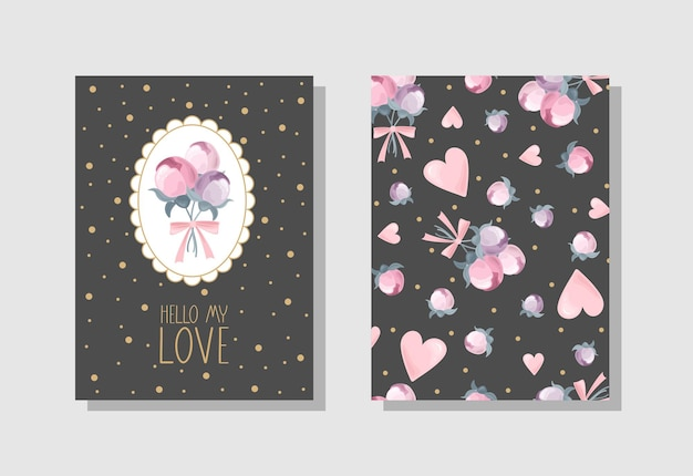 Set of valentines day greeting card with flowers sweets branches romantic elements and handwritten text