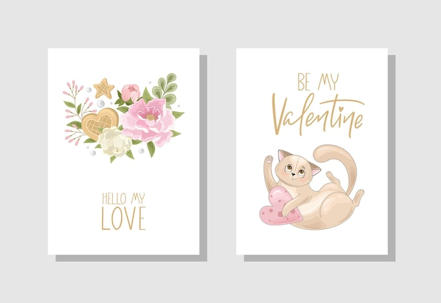 Set of valentines day greeting card with flowers sweets