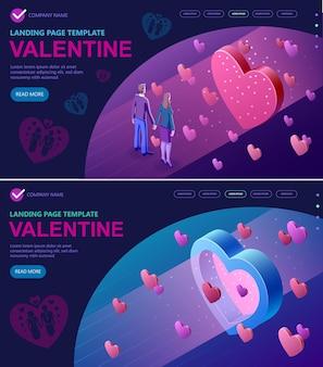 Set valentines day isometric concept