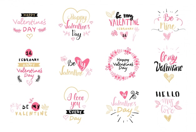 Set of valentines day label and badges creative hand drawn lettering elements collection isolated on white background