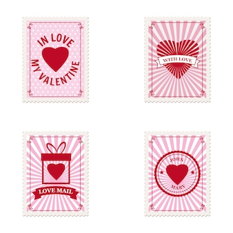 Set valentines day postage stamps hearts, collection for postcard, mail envelope