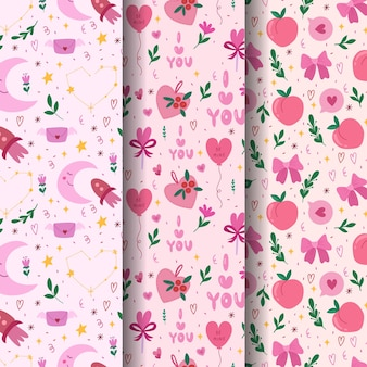 Set of valentines day seamless pattern. vector hand drawn illustration.