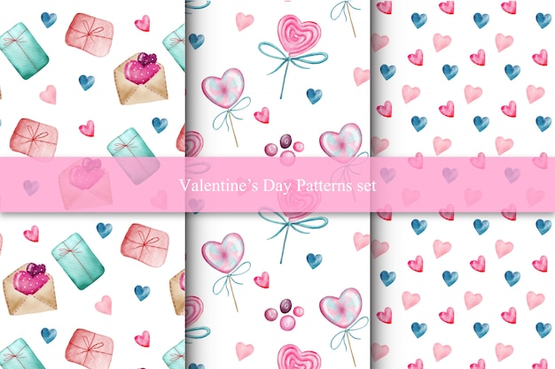 Set of valentines day seamless patterns with hearts, candies and gifts