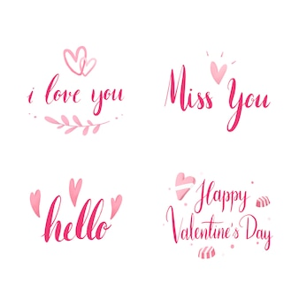 Set of valentines day typography vector