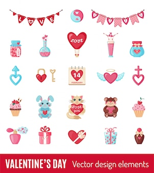 Set of valentines icons in flat style.