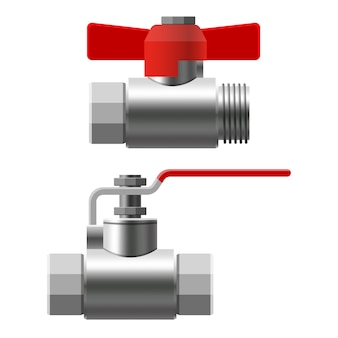 Set valves ball, fittings, pipes of metal piping system. different types valves water, oil, gas pipeline, pipes sewage