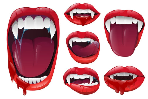 Set vampire lips and mouth