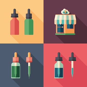 Set of vape shop bottles flat square icons with long shadows.