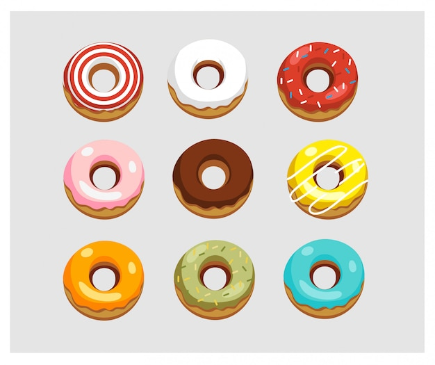 Set of variety colorful donuts.