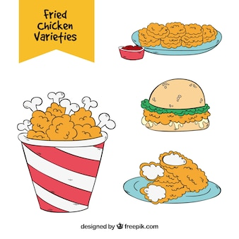 Set of variety of fried chicken in hand-drawn style