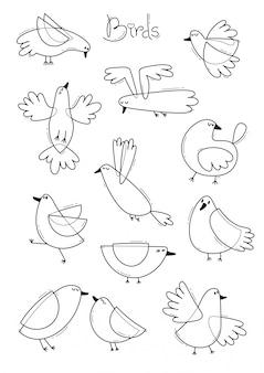 さまざまな抽象的な鳥を設定します。シンプルなラインデザイン。本ページを着色。図
