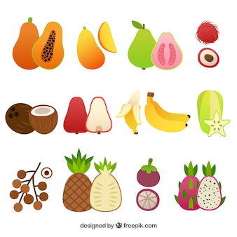 Set of variety of tasty pieces of fruit