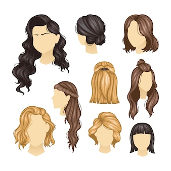 Set of variety women hairstyles