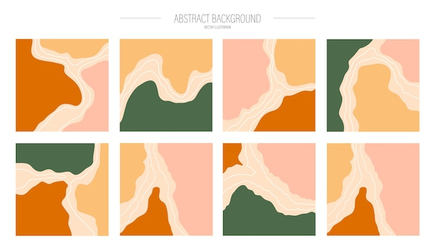 A set of various abstract backgrounds for social media post, trendy.