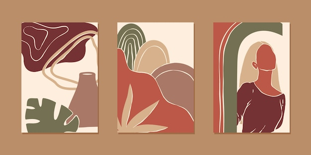 Set of various abstract vertical background for mobile app and social media content with women portrait, plant and abstract shape in modern style and earth color, minimalistic style.