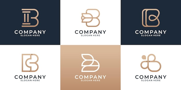 Set of various b logo design template