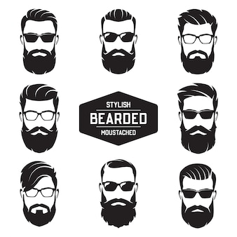 Set of  various bearded men faces.