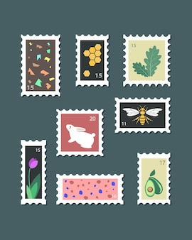 Set of various beautiful post stamps vintage and modern style