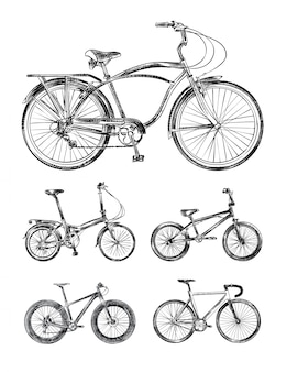 Set of various bikes, bicycles hand drawn sketches