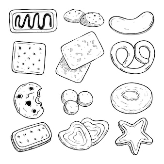 Set various of biscuits with hand drawn or sketch style