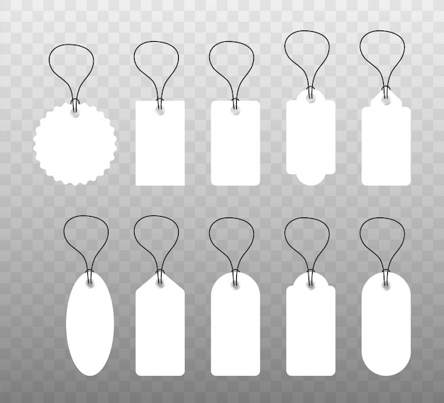 Set of various blank white paper tags, labels, stickers.