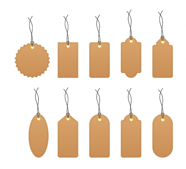 Set of various blank white paper tags