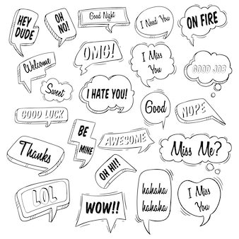 Set various of bubble speech with doodle or hand drawn style