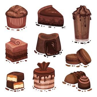 Set of various chocolate desserts