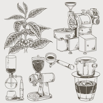 Set of various coffee machines and tools