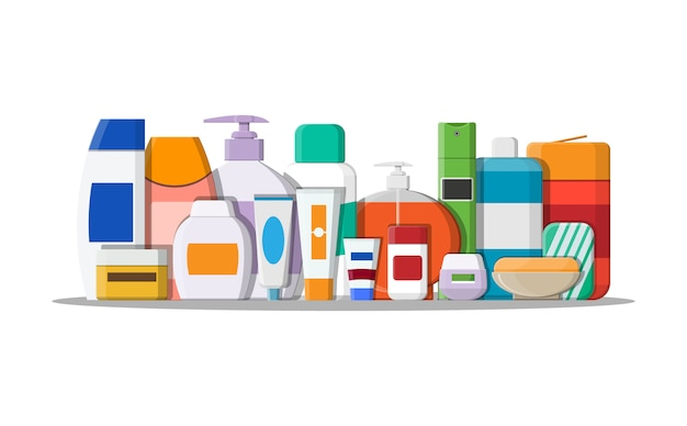 Set of various color cosmetic bottles.
