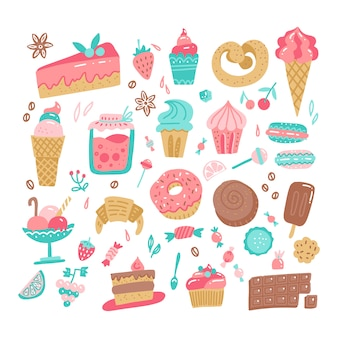 Set of various color doodles hand drawn rough simple sweets and candies illustration.