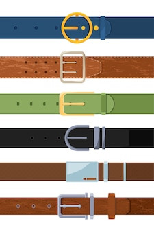 Set of various colored belts