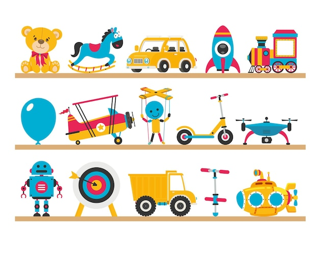 Set of various colorful toys