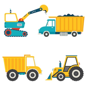 Set of various construction machines