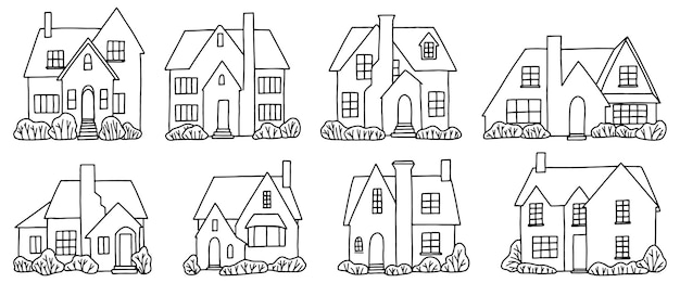 Set of various country houses, villas. collection of hand drawn vector illustration in minimalistic style. contour drawings isolated on white background.