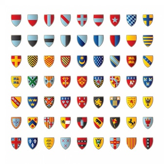 Set of various crests