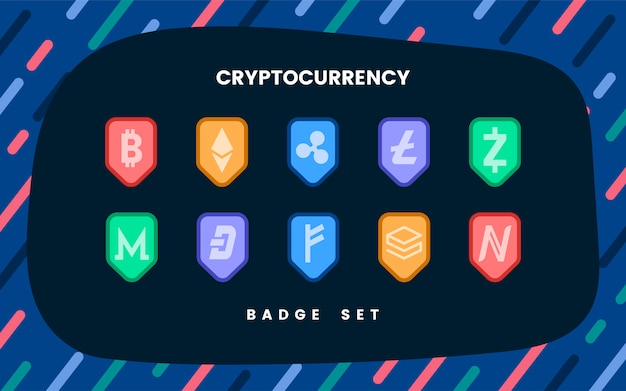 Set of various cryptocurrencies electronic cash symbol